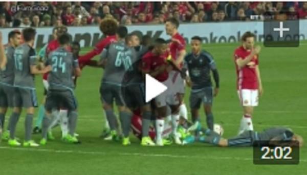 Видео потасовки в матче МЮ – Сельта