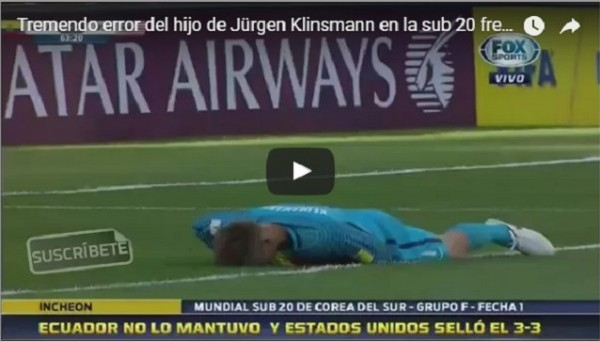 Ужасная ошибка сына Юргена Клинсманна на молодежном ЧМ